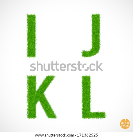 Set of font I J K L with grass textured isolated white background, vector illustration - stock vector