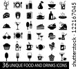 Set of 36 food and drink icons. Vector illustration - stock vector