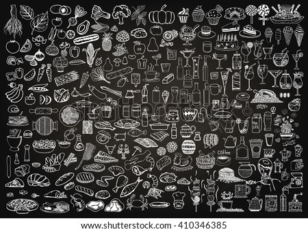 Set of food and drinks doodle on chalkboard background. - stock vector