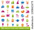 Set of 36 food and drinks icons. - stock vector