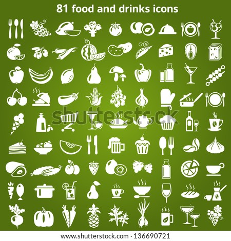 Set of food and drinks icons. Vector illustration. - stock vector