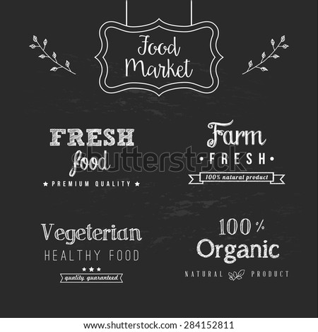Set of food design elements on the chalkboard background - stock vector