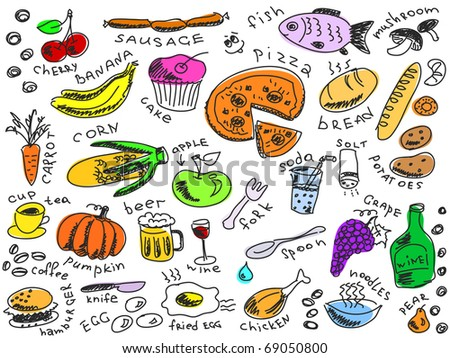 set of food doodles vector. Visit my portfolio for big collection of doodles - stock vector