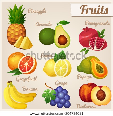 Set of food icons. Fruits.  Pineapple, avocado, pomegranate, grapefruit, lemon, papaya, banana, grape, nectarine.