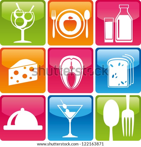 Set of food icons: ice cream, plate, fork, spoon, apple, milk, fish, dairy, cheese, bread - stock vector