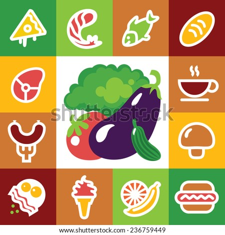 Set of food icons - illustration, fresh seafood, fruits, vegetables - stock vector