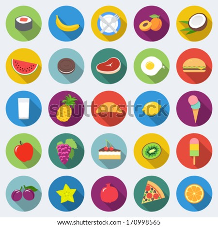 Set of food icons in flat design with long shadows Part 1