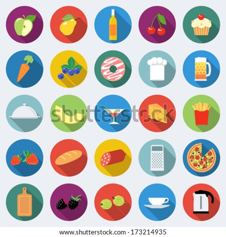 Set of food icons in flat design with long shadows Part 2 - stock vector