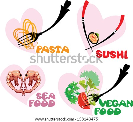 Set of Food Icons in hearts shapes: Japanese Cuisine - Sushi, Italian - Pasta, Sea and Vegan food. - stock vector