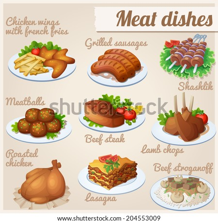 Set of food icons. Meat dishes. Chicken wings with french fries, grilled sausages, shashlik, meatballs, beef steak, lamb chops, roasted chicken, lasagna, beef stroganoff. - stock vector