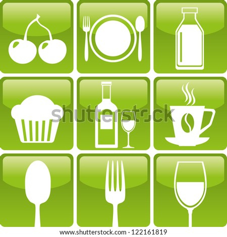 Set of food icons: spoon, fork, glass, bakery, coffee, dairy, cherry and wine - stock vector