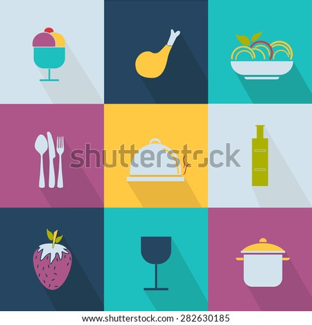 Set of food icons - web 2.0 style