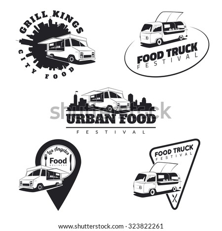 Set of food truck emblems, icons and badges. Urban, street food illustrations and graphics. Isolated classic food truck front view. Vector. - stock vector