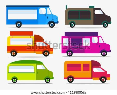 Set of Food Trucks icons. Food truck festival. - stock vector
