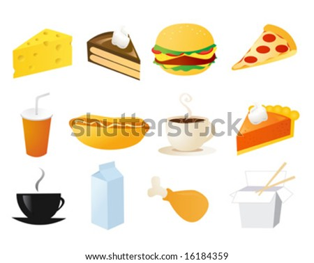 set of food vector icons - stock vector