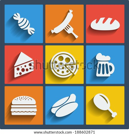 Set of 9 food vector web and mobile icons in flat design. Symbols of candy, sausage, fork, bread, cheese, pizza, beer, hamburger, hot dog, chicken leg - stock vector
