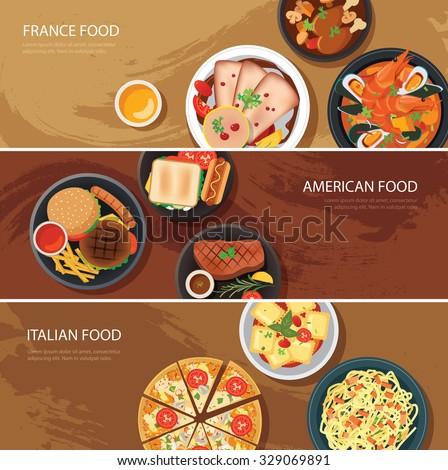 Set of food web banner flat design.France food,American food, Italian food - stock vector