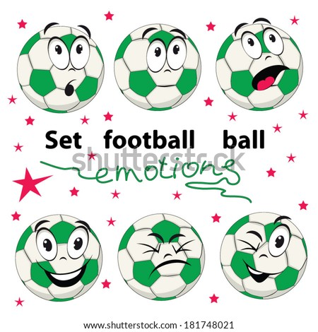 Set of football balls with cartoon persons that show different emotions. - stock vector