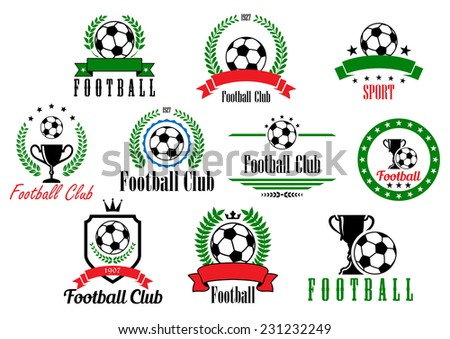 Set of football club badges and emblems with various text in wreaths and frames decorated with soccer or footballs, trophies and ribbon banners, vector illustration isolated on white - stock vector