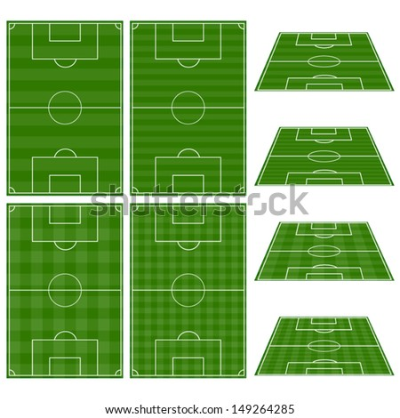 Set of Football Fields with Vertical and Horizontal Patterns - stock vector