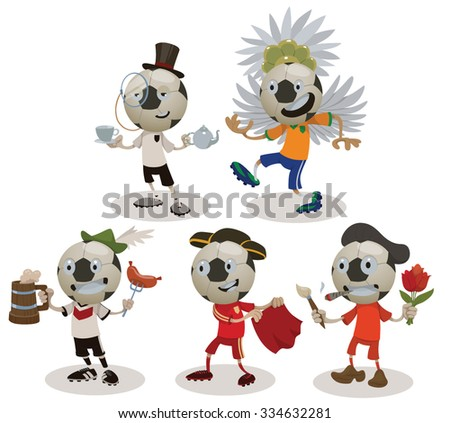 Set of football players wearing uniforms of different countries, Spain, Brazil, England, Netherlands, Germany, vector - stock vector