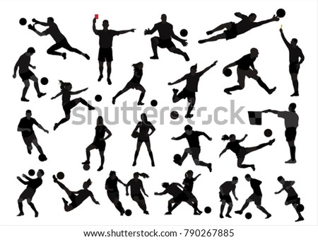 Set of football soccer , referee vector silhouttes.