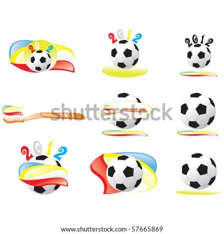 Set of football vectors - stock vector