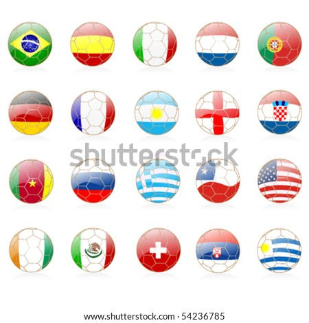 set of footballs with world flags