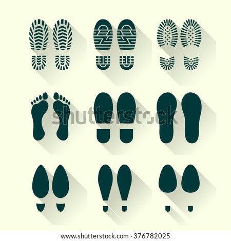 Set of footprints and shoes in a flat design