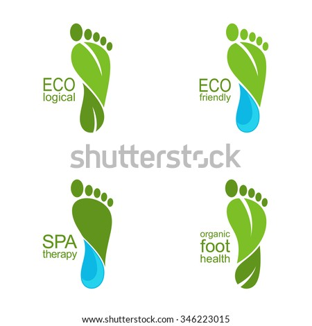 Set of footprints of green leaves and water drops for ecology, organic health and beauty care design - stock vector