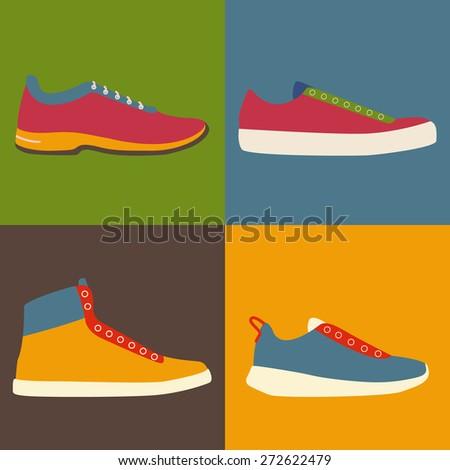 Set of footwear. Sneakers. Flat vector illustration. - stock vector