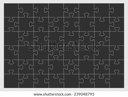 Set of forty-eight puzzle pieces. Vector illustration, eps 8. - stock vector