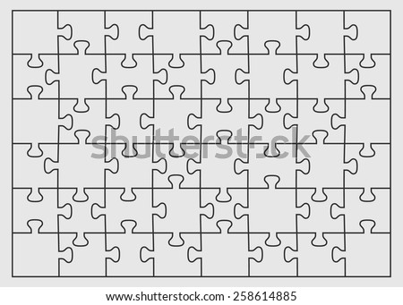 Set of forty eight puzzle pieces. Vector illustration, eps 8. - stock vector