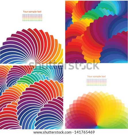 Set of four abstract background with spectrum wheels. - stock vector