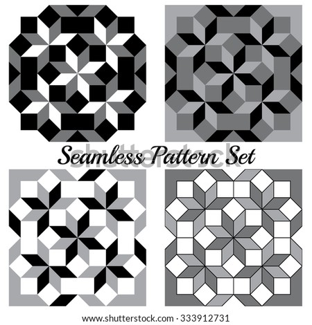 Set of four abstract modern geometric seamless patterns with rhombus and squares of black, grey and white shades - stock vector