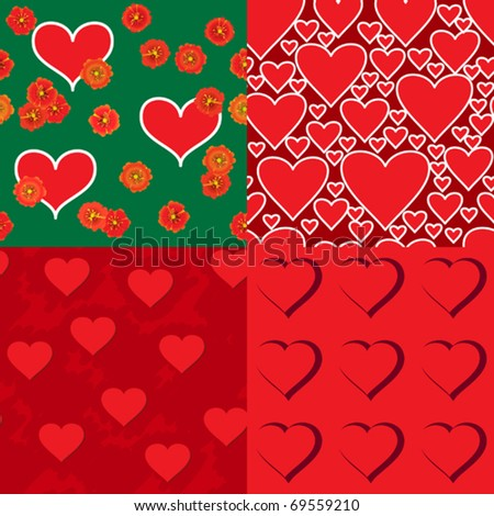 Set of four abstract Valentine backgrounds with symbols of hearts. Seamless pattern. Vector illustration.