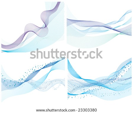 Set of four abstract vector water background - stock vector
