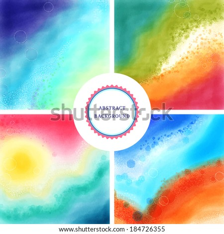 Set of four abstract vector watercolor backgrounds. Hand drawing with colored spots and blotches. - stock vector