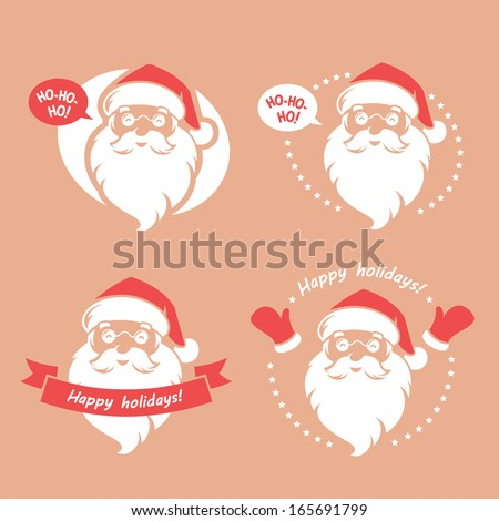 Set of four badges with Santa Clause's face - stock vector