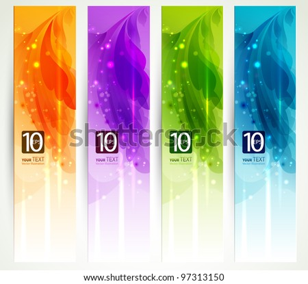 set of four banners, abstract  headers - stock vector