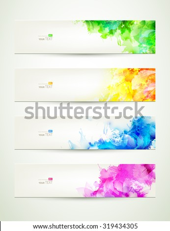 set of four banners,  headers with varicolored blots - stock vector
