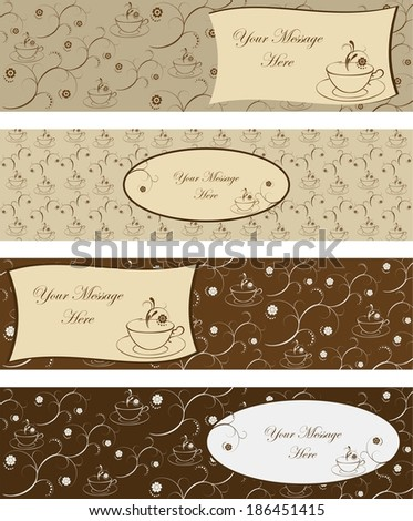 Set of four banners with cup of coffee and decorative branches