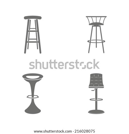 Set of four bar stool icons - stock vector