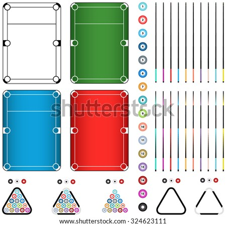 Set of four billiard tables in green, black and white, red, blue colors, balls, cue, triangle isolated on a white background. Editable parts illustration - stock vector