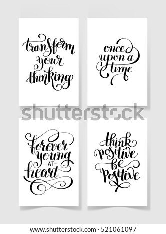 Set Of Four Black And White Handwritten Lettering Positive Quotes Collection To Printable Wall Art