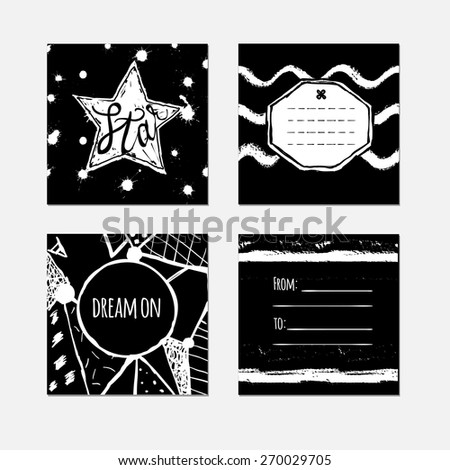 Set of four black and white tag templates in inky hand made style. - stock vector