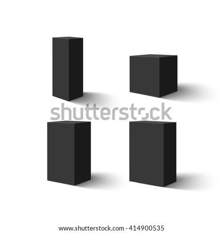 Set of four black blank boxes.  Box templates for your design. Vector illustration. - stock vector