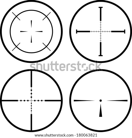 Set of four black crosshair. eps10 - stock vector