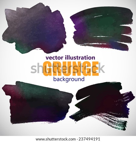 Set of four black ink blots splash. Vector illustration. - stock vector