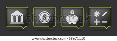 set of four black money icons - stock vector